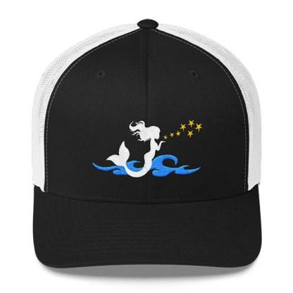 Mermaid Trucker Hat in Black and White
