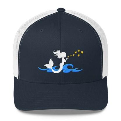 Mermaid Trucker Hat in Navy and White