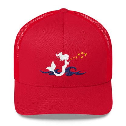 Mermaid Trucker Hat in Red