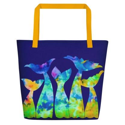 Mermaid Tails Beach Tote in Rainbow Tie Dye