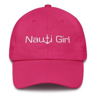Nauti Girl Baseball Hat Hot Pink