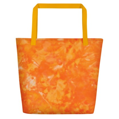 front - orange tie dye tote in yellow and orange