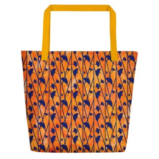 orange tie dye beach tote