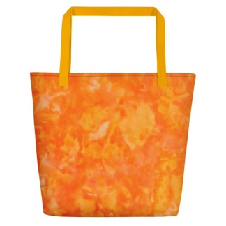 back - orange tie dye tote in yellow and orange