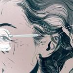 illustration of senior woman close up