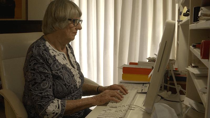 senior woman using a computer