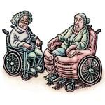 cartoon of 2 women in wheelchairs