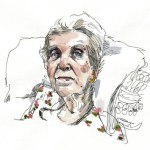 sketch of elderly woman