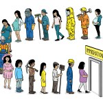 illustration of many people with different occupations lining up to immigrate