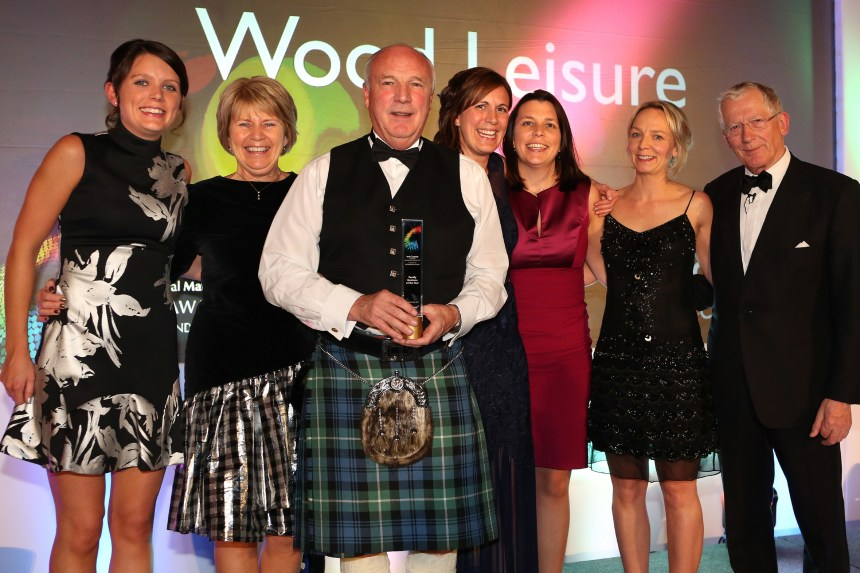 The Apprentice's Nick Hewer (far right) congratulates the Wood family. From the left are Sarah Wood, Margaret Wood, Colin Wood, Kirsty Wood, Rachel Wood, and Lesley Larg of Thornton's Solicitors