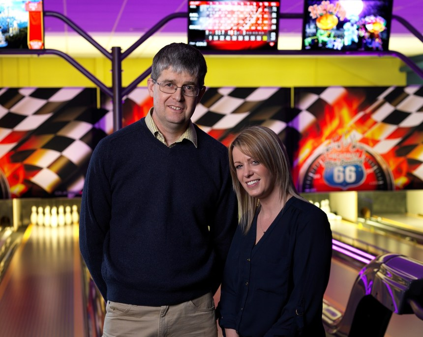 Bowled over: Michael Holgate with assistant manager Lisa Stephenson roll out the new facilities at Silverdale Holiday Park