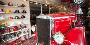 At Highlands End Holiday Park in Dorset, the park's pub celebrates fire service memorabilia