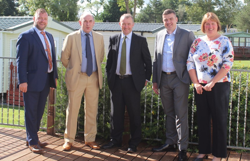 Simon Hart MP (centre) with from left, branch director and BH&HPA vice chairman Huw Pendleton; BH&HPA national chairman Henry Wild; branch chairman Thomas Scarrott, and branch secretary Gail Thomas