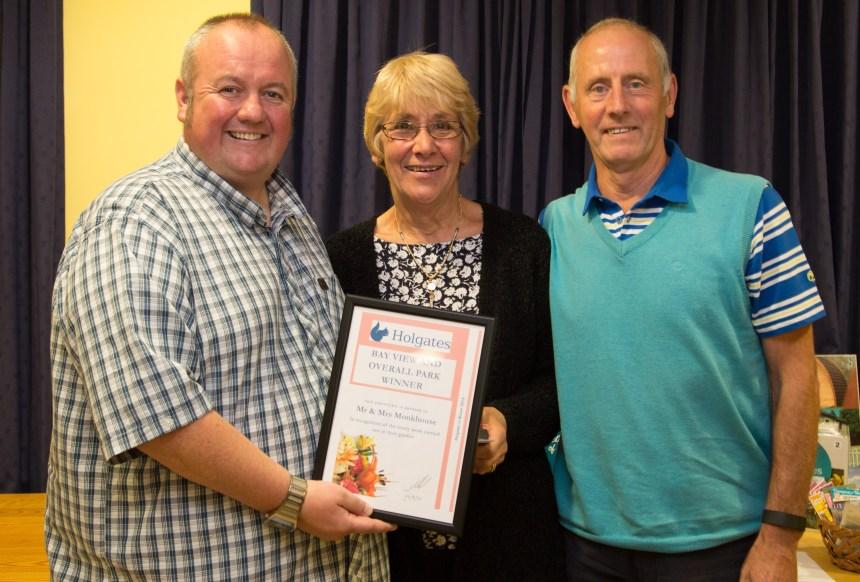 Radio Lancashire's Stephen Lowe congratulates Holgates in Bloom winners Vic and Joan Monkhouse