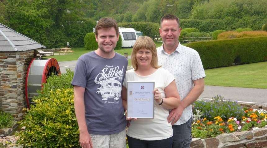 Mining Cornish gold: Ian and Jane Akeroyd with their son Jake at their Roseland Peninsula touring park