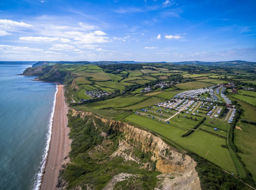 Ravishing views of Dorset's Jurassic coast are enjoyed by visitors to Highlands End Holiday Park (above)