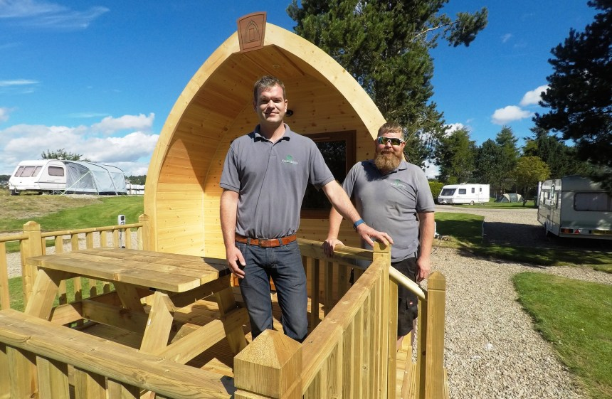 Pod pride: Bruce Thomson (left) and Mark Connon put their own stamp on Deeside park's new accommodation