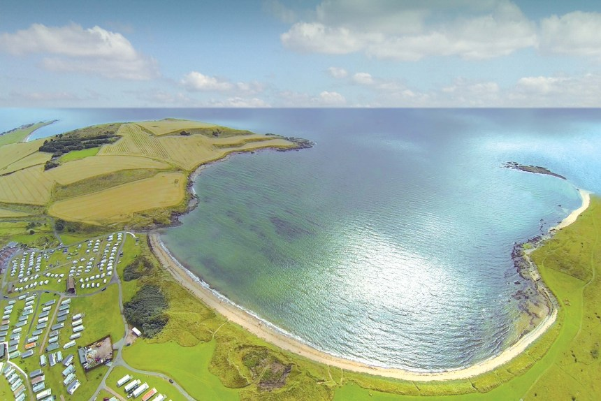 From above, the stunning beachside location of Elie Holiday Park on one of Fife's most picturesque sandy bays