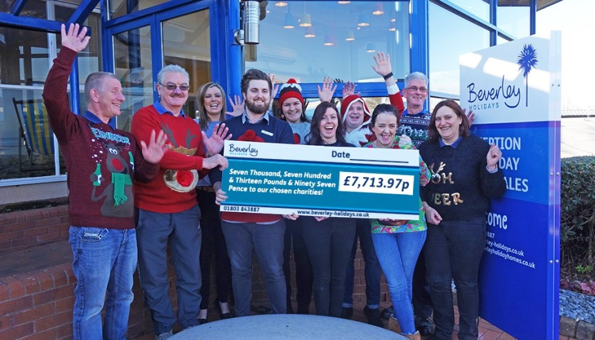 Cheque this out: a total of just over £7,700 was raised by Beverley Holidays' charity champions over the year