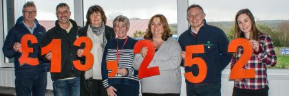 Fantastic figures: from left are Hendra directors Bob Hyatt, Robert May and Janine Hyatt; Cornwall Hospice Care fundraiser Judy Lawton; Hendra directors Rebecca May and Will Dexter, and Hendra staff member Emma Sandry