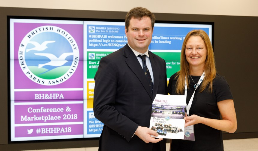 Kevin Foster MP is welcomed at the Westminster holiday parks conference by Claire Flower of Beverley Holidays