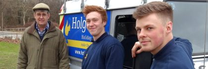 Michael Holgate (left) with new trainees Michael Finch (20) and Steven Sharpe (19), both Silverdale residents