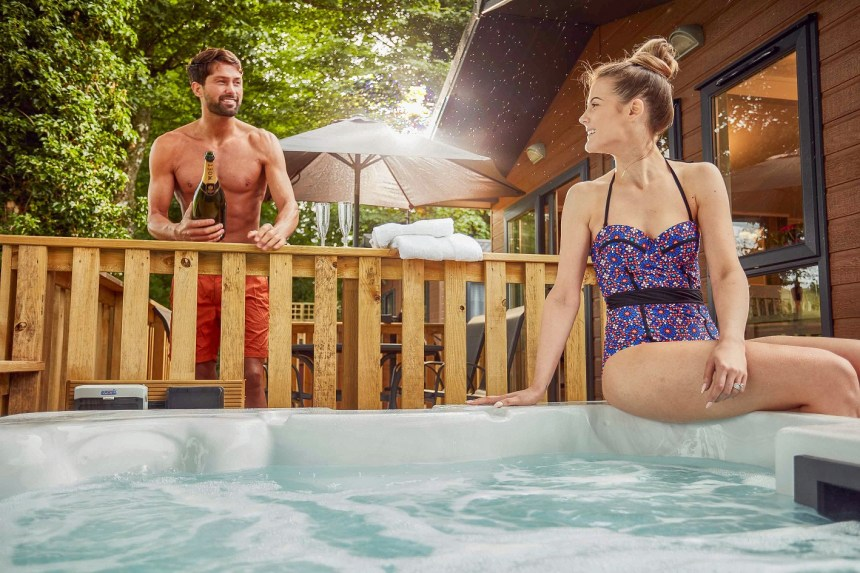 Bubbling private hot-tubs are among the luxuries which guests at Mouswald Lodge Park can look forward to