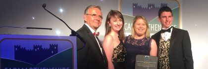 Members of the Rees family go under the spotlight to receive their best park accolade at the awards ceremony