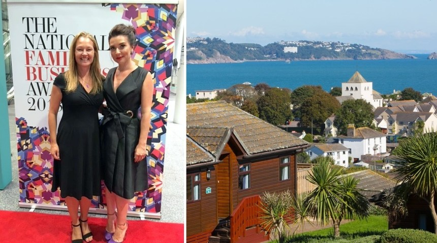 Bake Off star Candice Brown, awards host, with Beverley's Claire Flower. Right: a sea view lodge at the park