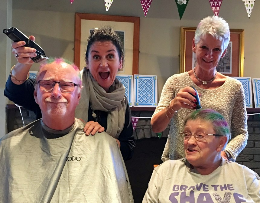 Tracey Coulson (left) and her sister Ann with residents Roy and Doreen who bravely went bald in a good cause!