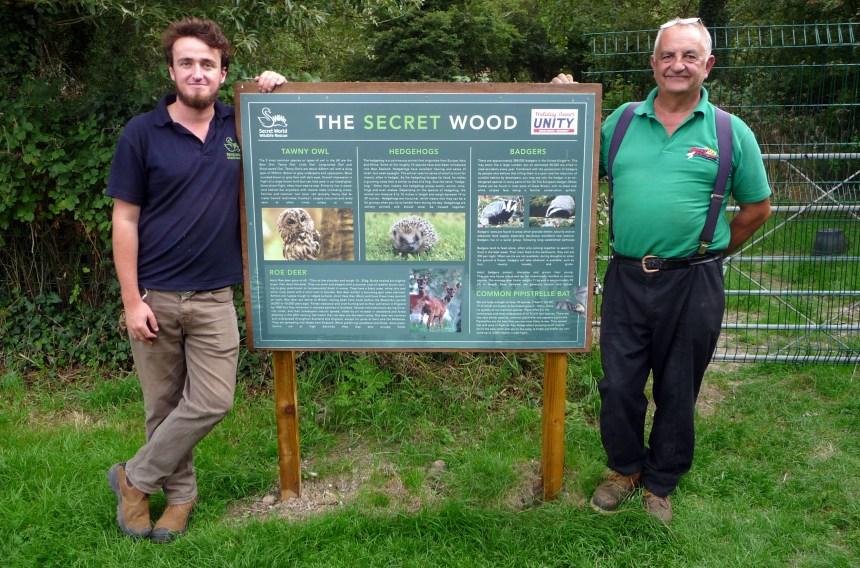 Release manager Jamie Kingscott (left) and the park's head gardener Mick Rayner at newly named Secret Wood