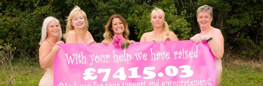 In the pink: Tree Tops' caravan girls celebrate after a tot-up saw their fundraising calendar target toppled