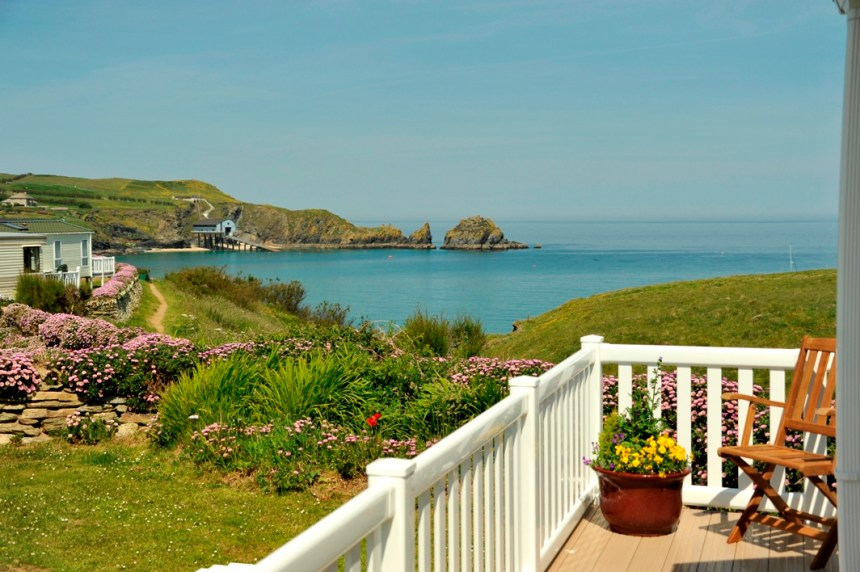 Holiday homes at Mother Ivey's Bay have far-reaching views out to sea and along the Cornish coast
