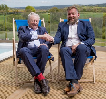 Flashback to last summer when Wales tourism minister Lord Dafydd Elis-Thomas (left) was welcomed to Noble Court Holiday Park by Huw Pendleton to open its new glamping development
