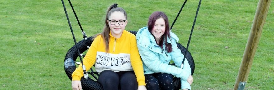 Wishes granted: Chloe (left) and her pal Drew can now enjoy a basket swing together, thanks to the holiday park