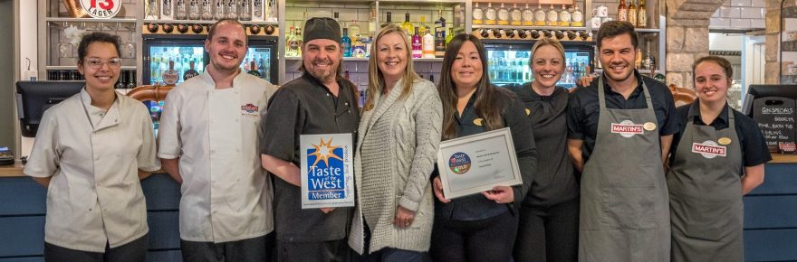 Taste of success: members of the Martin's Bar team celebrate their success in the Taste of the West awards