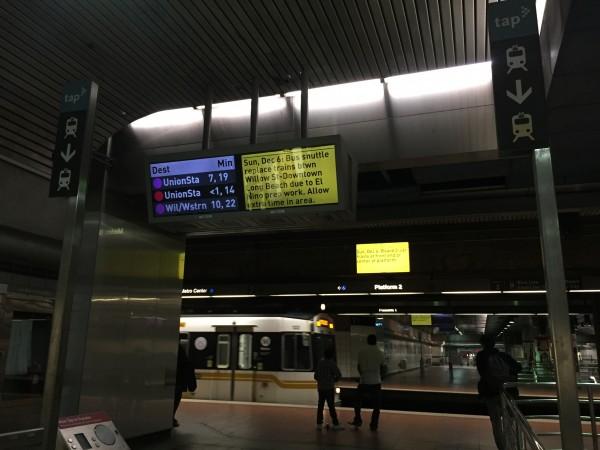 LA Metro's screen after