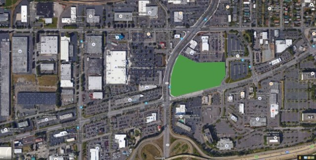 The proposed location of the new center (in green) is surrounded by auto-oriented land use. Image: Google Maps.