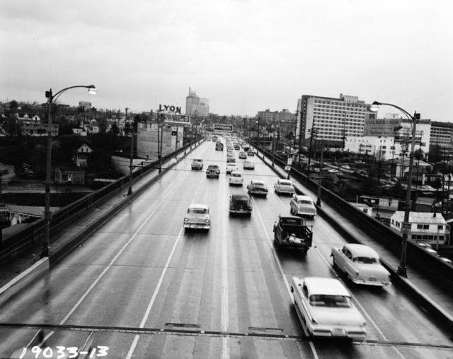 """Congestion on the University Bridge, 1957"" – Seattle Municipal Archives"