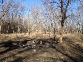 West Swale and the Riparian Woodlands Richard St. Barbe Baker Afforestation Area, Saskatoon, SK, CA Fire Pit alongside the BMX bicycle Jump Park