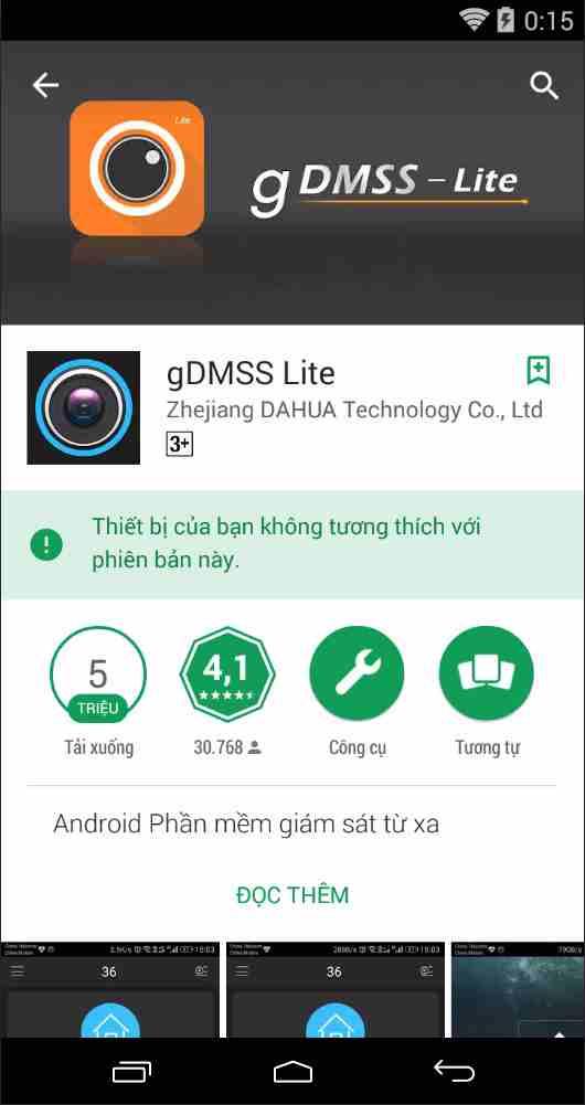Phần mềm xem camera Dahua trên điện thoại Androi gDMMS Lite