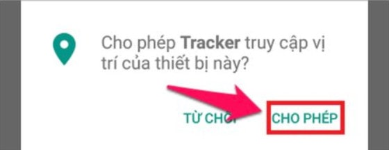Cho phép tracker truy cập vị trí thiết bị