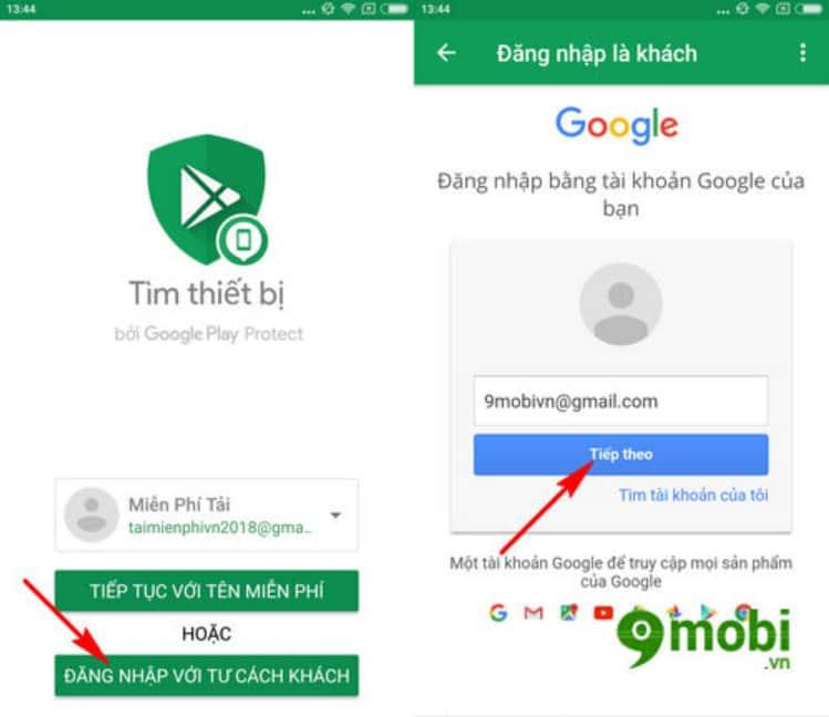 Đăng nhập phần mềm định vị điện thoại Android