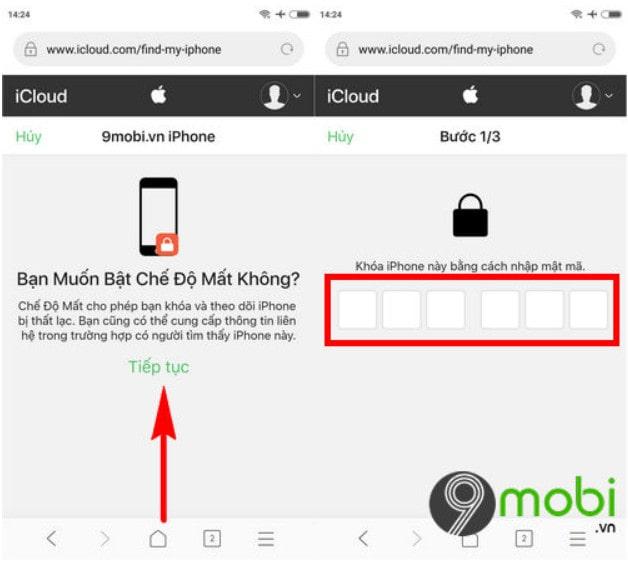 Nhấn vào Chế độ mất để định vị điện thoại iPhone đã bị mất