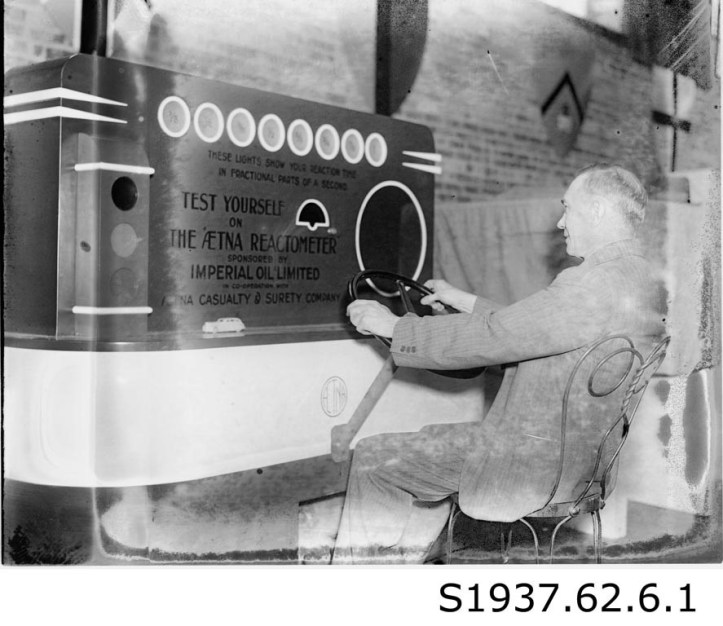 C. M. McBride at St. Catharines Safety Exhibition, 1947. STCM, St. Catharines Standard Collection, S1937.62.6.1.