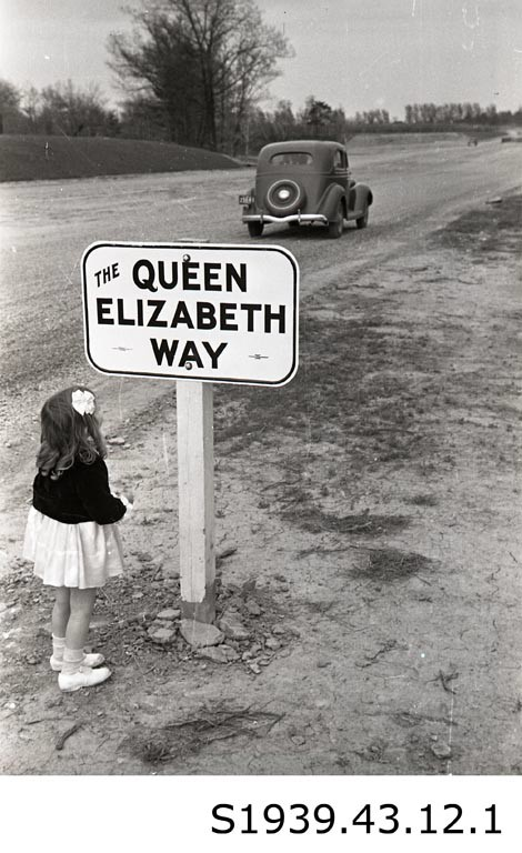 """Queen's Name Graces New Four-Lane Highway,"" 1939. STCM, St. Catharines Standard Collection, S1939.43.12.1."