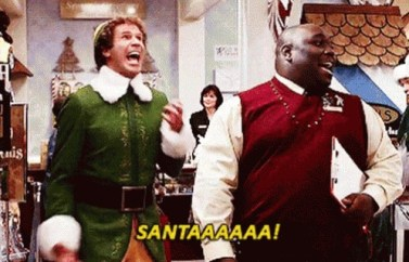 Still from the 2003 holiday movie, Elf, where Will Ferrell's character yells for Santa in enthusiasm.