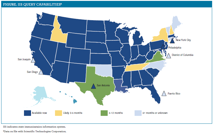 US map showing states that have IIS capabilities.