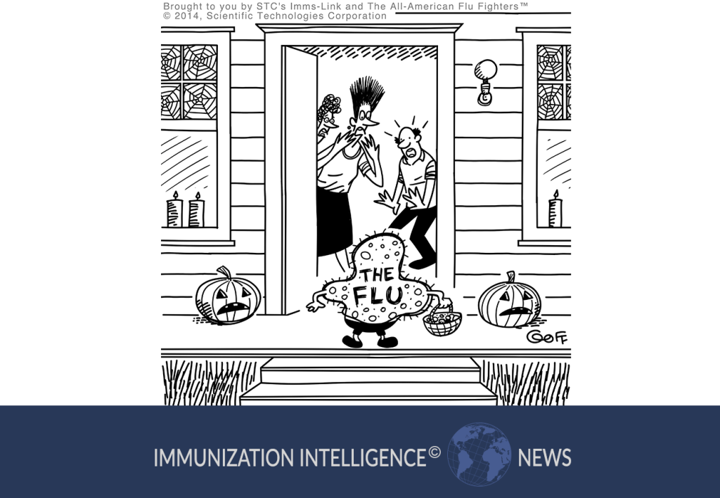 Cartoon showing two women and a man open their front door and react in fear as they see a child dressed as The Flu for Halloween.