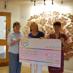 Christine Neal pictured with the giant cheque, and friend and volunteer Pat, and Director of Income Generation Cheryl